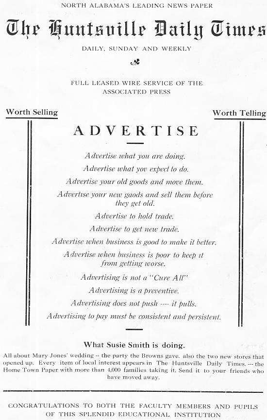 Advertisement for the Huntsville Times Newspaper, 1922