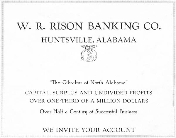 Advertisement for the W. R. Rison Banking Company, 1922