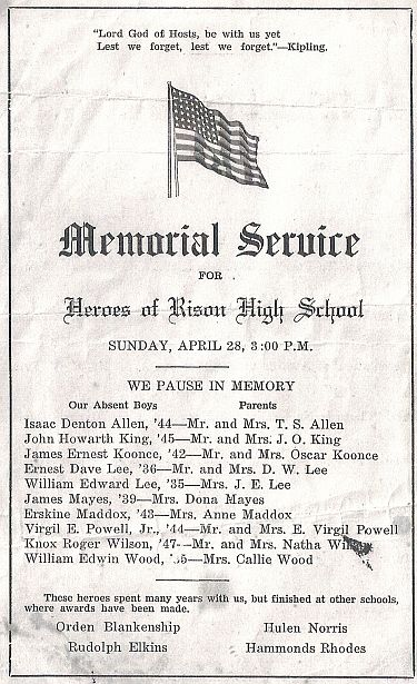 Memorial Service for Heroes of Rison High School, April 28, 1946