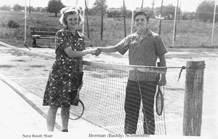 Playing Tennis: Sara Routt Starr and Herman (Buddy) Schrimsher