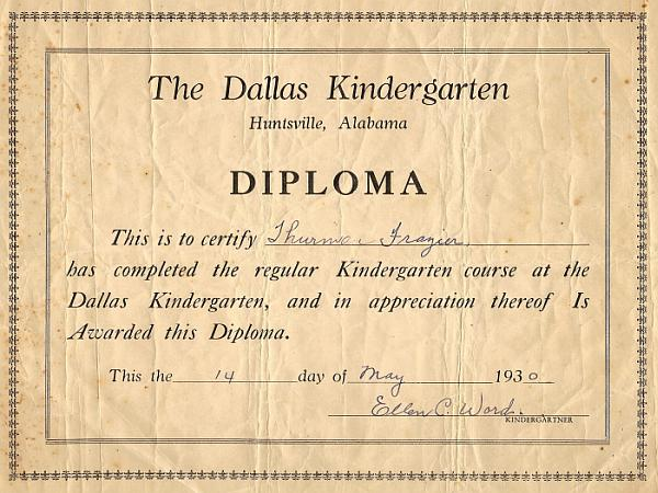 Thurman Frasier Kindergarten Diploma
