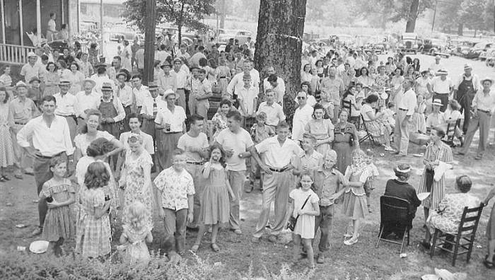 A Gathering of Dallas Village Folks in about 1947 on the grounds of the Little Red Schoolhouse