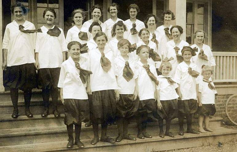 A group of Young Ladies in front of the YMCA Building, Early 1920s