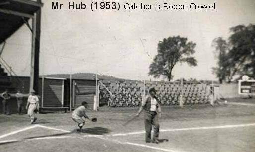 Coach Hub Myhand and Robert Crowell at Optimist Park in the spring of 1953.
