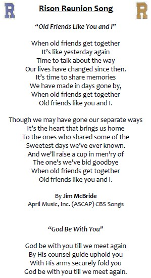 reunion song from 2011 rison-dallas reunion program